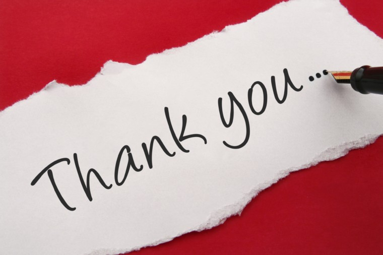 thank you note on red background